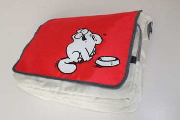 Simon's Cat Messenger Bag Rot-Weiß